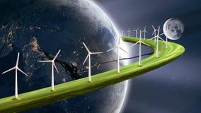 Concetto sostenibile futuro di energia, generatori eolici che generano elettricità sull'anello planetario intorno alla terra immagini stock