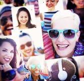 Concetto stabilito della gente del collage della raccolta diverso Fotografia Stock