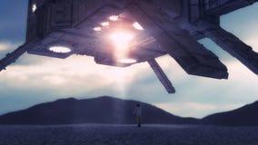 Concetto straniero del UFO dell'astronave fotografia stock libera da diritti