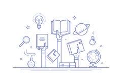 Concetto su conoscenza e su istruzione Linea sottile composizione piana in progettazione per le insegne, le poste sociali di medi Fotografia Stock Libera da Diritti