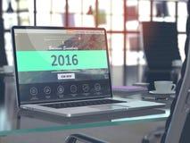 Concetto 2016 sullo schermo del computer portatile Fotografia Stock
