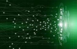 Concetto, tecnologia e scienza astratti del fondo con il circuito elettrico su luce verde royalty illustrazione gratis