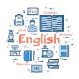 Concetto tematico inglese rotondo blu royalty illustrazione gratis