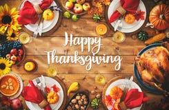 Concetto tradizionale del pasto della regolazione della cena di celebrazione di ringraziamento Fotografia Stock