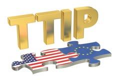 Concetto transatlantico di associazione TTIP di investimento e di commercio, 3D Fotografie Stock Libere da Diritti