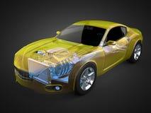 Concetto trasparente dell'automobile con il motore e la trasmissione visibili Fotografie Stock Libere da Diritti