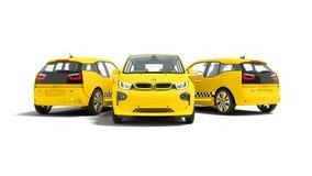 Concetto tre della rappresentazione gialla moderna dell'automobile elettrica 3d del taxi sopra illustrazione vettoriale
