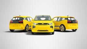 Concetto tre della rappresentazione gialla moderna dell'automobile elettrica 3d del taxi sopra illustrazione di stock