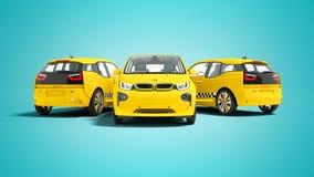 Concetto tre della rappresentazione gialla moderna dell'automobile elettrica 3d del taxi sul fondo blu con ombra royalty illustrazione gratis