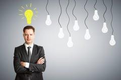 Concetto, uomo d'affari e lampadina di idea Fotografia Stock Libera da Diritti