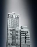 Concetto urbano dettagliato della città. 3D rendono con lighte Fotografie Stock Libere da Diritti