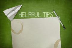 Concetto utile di punte sulla lavagna verde con fotografie stock libere da diritti