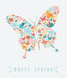 Concetto variopinto della farfalla della primavera felice Immagine Stock Libera da Diritti