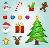 Concetto variopinto delle icone di Natale Immagini Stock Libere da Diritti