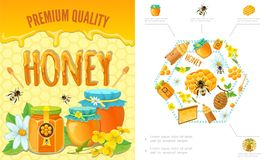 Concetto variopinto di apicoltura del fumetto royalty illustrazione gratis