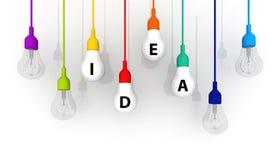 concetto variopinto di idea della lampadina 3D su fondo bianco Fotografia Stock