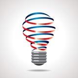 Concetto variopinto di idea della lampadina del nastro Immagine Stock