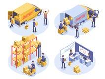 Concetto veloce di consegna Van, uomo e scatole di cartone Merci del prodotto che spediscono trasporto Illustrazione isometrica 3 illustrazione di stock