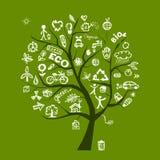 Concetto verde dell'albero di ecologia Fotografia Stock