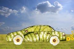 Concetto verde dell'automobile fatto dai fogli e dai fiori royalty illustrazione gratis