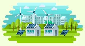 Concetto verde sicuro di energia in uno stile piano Fotografia Stock