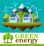 Concetto verde sicuro di energia in uno stile piano Immagini Stock Libere da Diritti