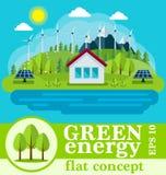 Concetto verde sicuro di energia in uno stile piano Fotografie Stock Libere da Diritti