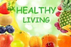 Concetto vivente sano di stile di vita dell'alimento del fondo misto di frutti Immagine Stock