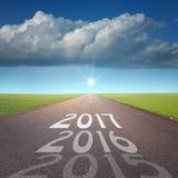 Concetto vuoto della strada ai 2016 nuovi anni imminente Fotografie Stock Libere da Diritti