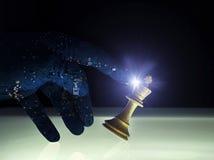 Concetto Wining superiore di scacchi di intelligenza artificiale Fotografia Stock