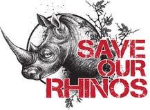 Sauvez nos rhinocéros Photos stock