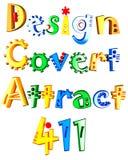 Concevez, couvert, attirez et texte coloré 411 par 3d Photos stock