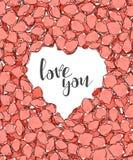 Concevez la carte postale avec des pétales de roses et le style de croquis de félicitation de calligraphie Images stock