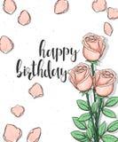 Concevez la carte postale avec des roses et la félicitation de calligraphie dans le style de croquis Images libres de droits