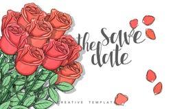Concevez la carte postale de mariage avec des pétales de roses et la félicitation de calligraphie Images stock