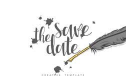 Concevez la carte postale de mariage avec les taches d'encre, la plume et la félicitation de calligraphie Image libre de droits