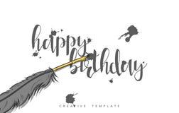 Concevez la carte postale de mariage avec les taches d'encre, la plume et la félicitation de calligraphie Photo libre de droits