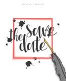 Concevez la carte postale de mariage avec les taches d'encre, la plume et la félicitation de calligraphie Images stock