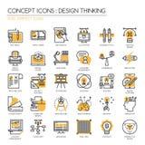 Concevez la pensée, icônes parfaites de pixel, Pix illustration de vecteur