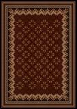 Concevez le cadre avec les ornements bariolés aux nuances marron et brunes pour le tapis Image libre de droits