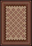 Concevez le cadre avec les ornements bariolés dans le shadesbrun et rougepour le tapis Photographie stock