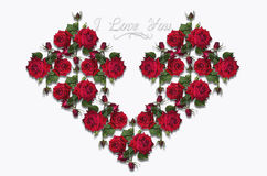 Concevez le coeur rassemblé d'un bouquet des roses rouges Images stock