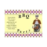 Concevez les éléments pour le barbecue, carte d'invitation avec l'image du BBQ-homme Photo stock