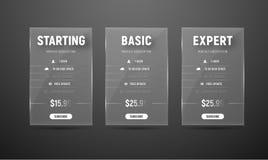 Concevez les tables en verre d'évaluation de vecteur pour le site Web et les magasins illustration de vecteur
