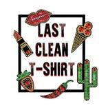 Concevez pour le T-shirt avec des corrections avec des paillettes et des perles Lèvres, cactus, rouge à lèvres, baie, autocollant illustration stock