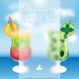 Concevez un menu pour des boissons d'été Photos libres de droits