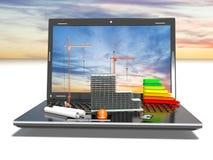 Concevoir du projet Dessine et ordinateur portable Le concept, 3d rendent Photographie stock