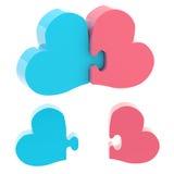Concezione di amore fatta dei pezzi di puzzle Immagine Stock Libera da Diritti