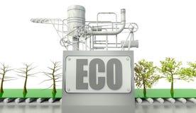 Concezione di Eco con gli alberi e la macchina Fotografia Stock
