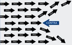 Concezione di pro e contro immagine stock